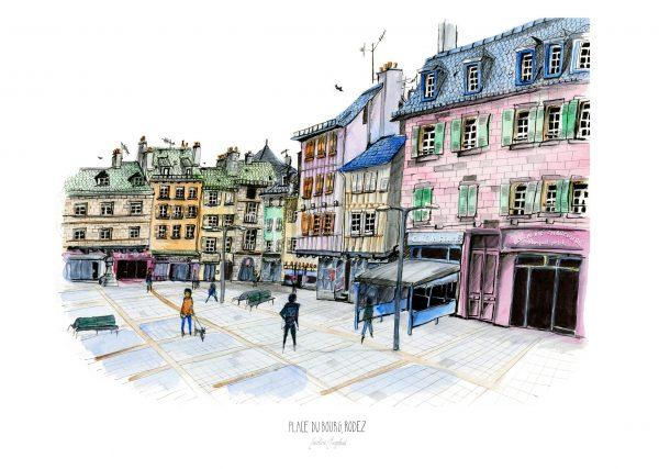 Place du Bourg, Rodez, Aquarelle et feutres