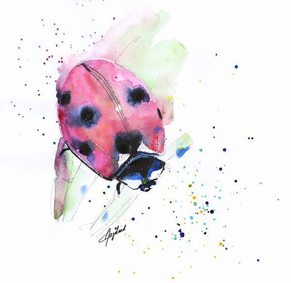 Coccinelle, aquarelle et feutre, format carré 30,5x30,5cm, Caroline Angelard